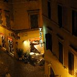 view of lovely bar rossana from our room at night.