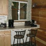 Kitchenette counter area, Hemlock cabin