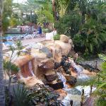 waterfall outside restuarant