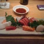 partly eaten sashimi dish!