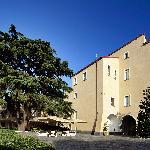il magico cortile con un imponente cedro libanese circondato da piante di lavanda e rosmarino