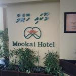 Mookai Hotel sign outside of the building.