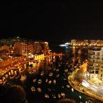 Spinola Bay from roof terrace - night