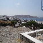 View of Mykonos Town and sea from our private sitting area