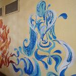 Beautiful art decorate the walls of the common areas