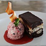 White & Dark Chocolate Terrine w/ Berry IIce Cream