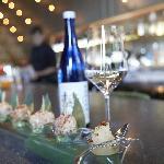 Born 'Ocean Blue' sake and takoyaki.