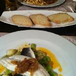 peppered steak, free bread & fish served on broadbeans