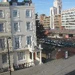 View from our window: Another wing of the hotel across the street and the ever-present trains
