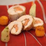 roast chicken with  lisdoonvarna sm salmon potatoe gnoochi