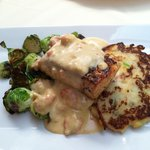 Salmon, potato cakes & brussel sprouts