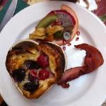 One of our amazing hot breakfasts!!! not to forget the local coffee, OJ, & fresh fruit also serv