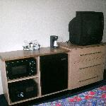 TV, microwave, safe, fridge, coffeemaker