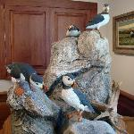 Puffins sculpted from wood