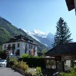Hotel entrance looking to Mont Blanc