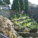 Every space is used within the Monastery grounds; here a garden is perched on the very edge of t