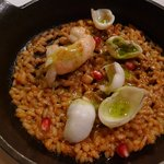mini paella with squid and shrimp