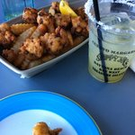 conch fritters and margarita.