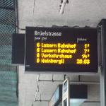The sign at the bus stop going back into Lucerne. Buses are very frequent