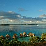 Overwater bungalows'view from the hill