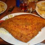 The fried whole plaice