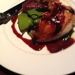 capon with raspberry reduction.