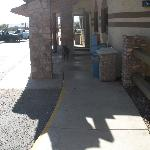 Exterior shot with another dog, restaurant entrance