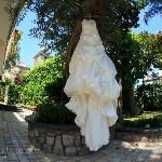villa grounds & wedding dress