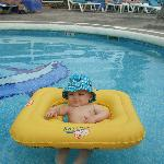 my baby in his float in the baby pool