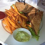club sandwich with sweet potato fries