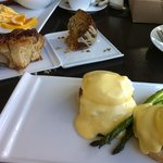 Eggs benedict, sticky bun, coffee cake, etc