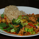 Asian vegetable stir fry with soy meat and spicy chili sauce
