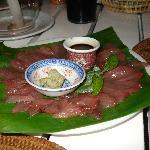 Yellowfin Tuna sashimi, caught a few hours before dinner!