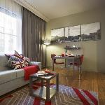 The 1-bedroom apartment living-room, with all the necessities