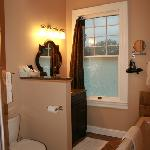 Boston Harbor Suite bathroom with shower & separate jetted tub, Fig Street Inn, Cape Charles, VA