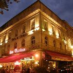 Hotel de l'Horloge at night on the Place de l'Horloge, Avignon, France
