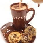 Erico's hot chocolate and freshly made chocolate chunks cookies