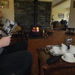 enjoying tea in front of log burner-Ahhh