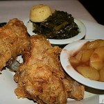 Fried Chicken with Collard Greens and Spiced Apple