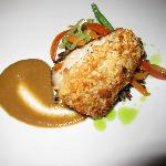 Final dinner- Almond Crusted Local Pargo, Steamed Wild Rice and Chiptole Banana Rum Glaze