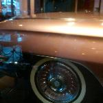 The Cadillac parked inside