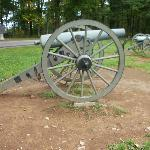 Cannons like this are scattered throughout the battlefield, indicating where various battle line
