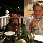 The picture tells it all - Rufus, our 6 month old Airedale, had an outstanding dining experience