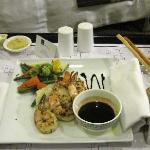 Main course - Grilled prawns with veggies.