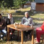 Having morning tea with Rajiv at Harsil Retreat