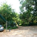 Partial view of the parking area and the entrance to Gecko Lodge.