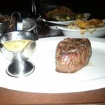 Petite filet, mmm :) Cheesy garlic mashed in background!