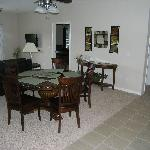 Large comfortable seating at the dining room table as well as seating at the kitchen bar assures