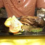 My boyfriends steak which was just as big, the meat was tender & juicy!!