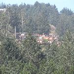 shot of the cabins from the beach, zoomed in a little.